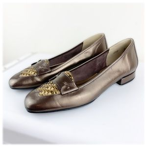 Magdesians California Bronze Leather Woven Loafers